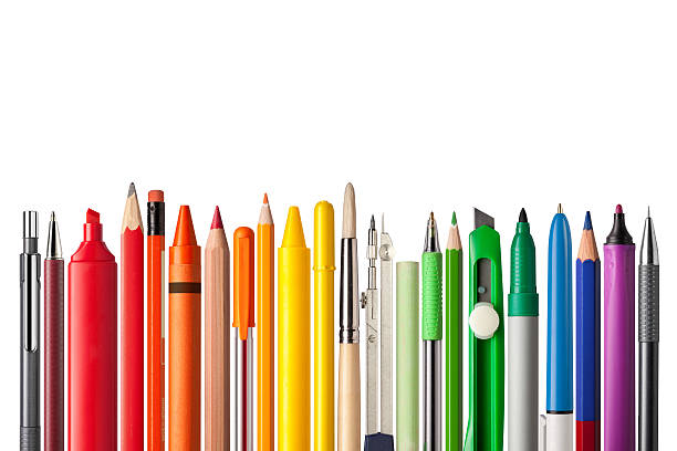 school supplies. - pen stock photos and pictures