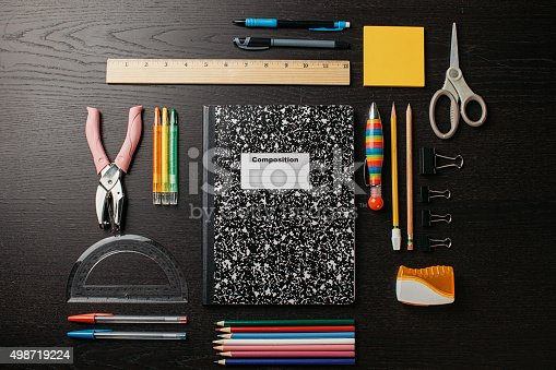 School supplies shot knolling style from above.