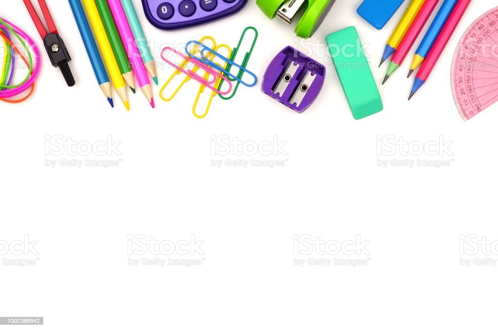 School supplies top border isolated on white royalty-free stock photo