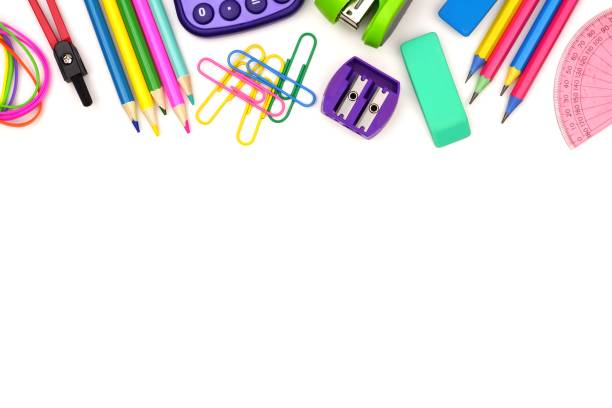 School supplies top border isolated on white School supplies top border isolated on a white background school supplies border stock pictures, royalty-free photos & images