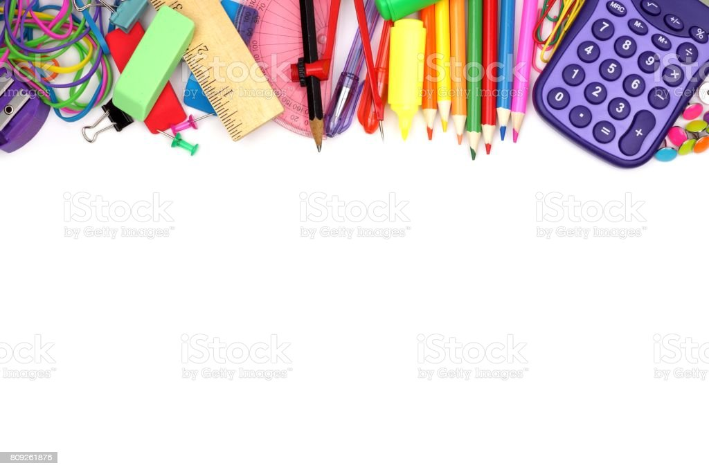 School supplies top border on a white background stock photo