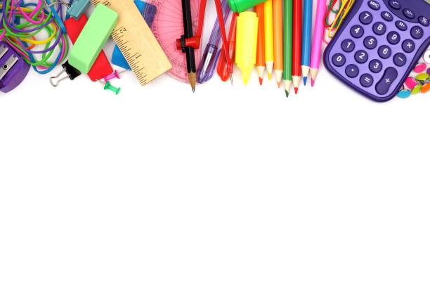 School supplies top border on a white background Colorful school supplies top border against a white background school supplies border stock pictures, royalty-free photos & images