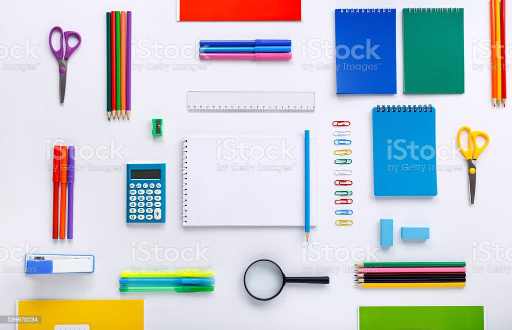School supplies with a notebook with blank pages stock photo