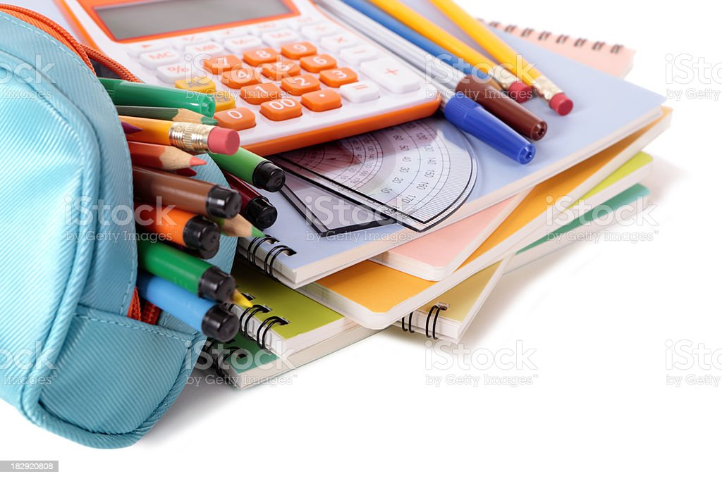 School supplies with calculator royalty-free stock photo
