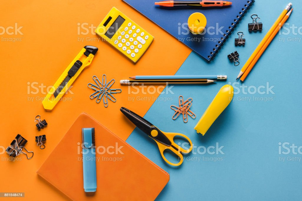 school supplies with calculator stock photo