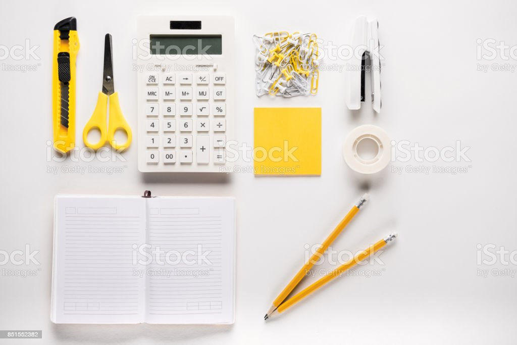 school supplies with notebook stock photo