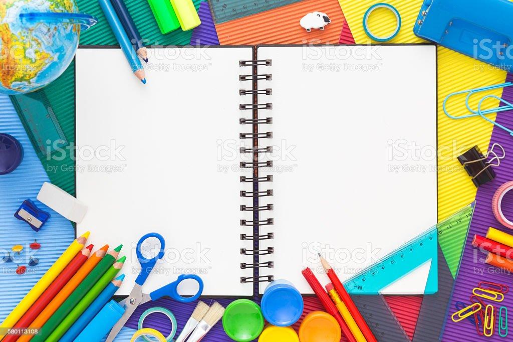 Billboard, Desk, Equipment, Ruler, Scissors. School Supplies With Notebook. Top  View. ...