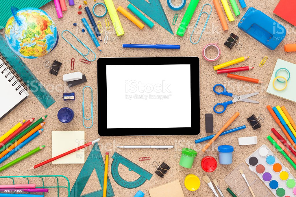 School supplies with tablet. Back to school. stock photo