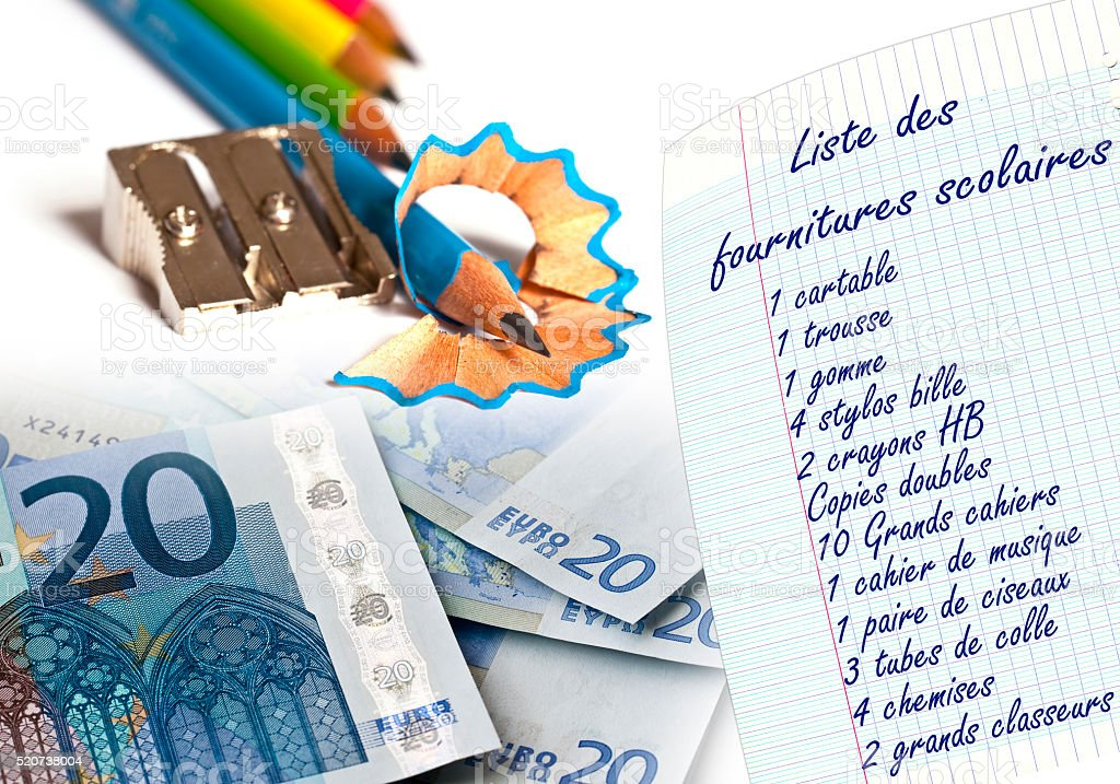 School supply list written in french and euros stock photo