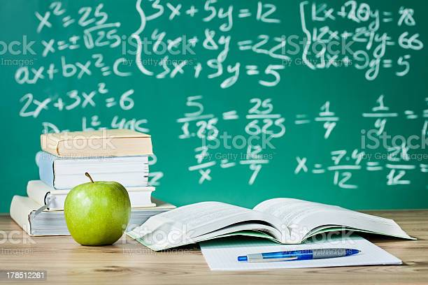 School Textbooks On A Desk Stock Photo - Download Image Now
