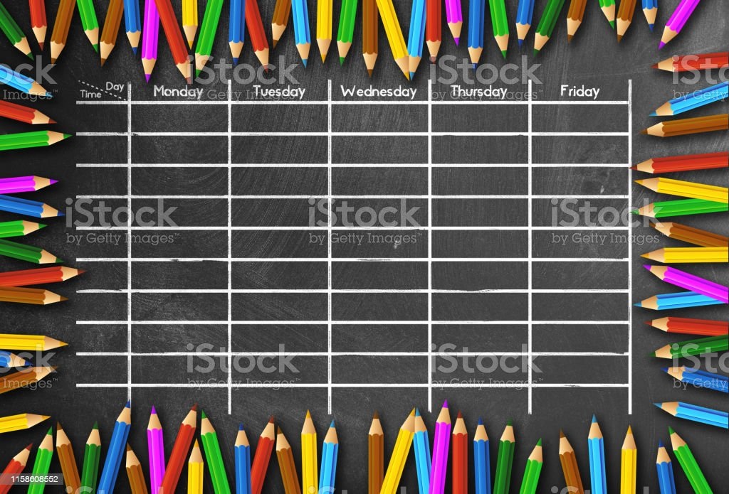 School Timetable Or Class Schedule Template On Chalkboard Framed