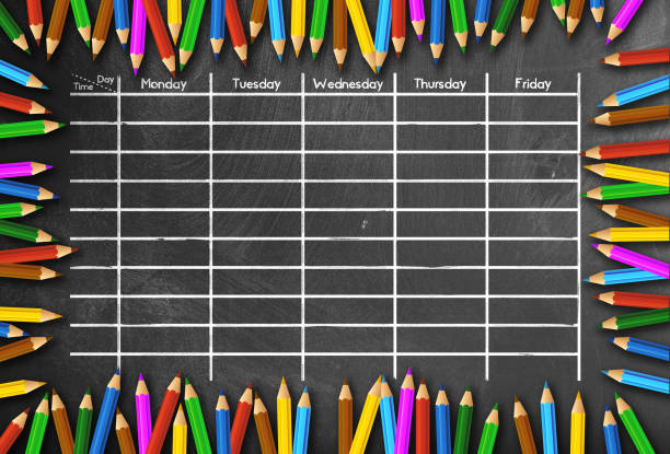 school timetable or class schedule template on chalkboard framed by colored pencils school timetable or class schedule template on blackboard framed by colored pencils arrival departure board stock pictures, royalty-free photos & images