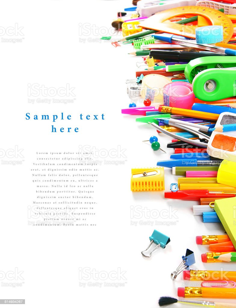 School tools and accessories on a white background. stock photo