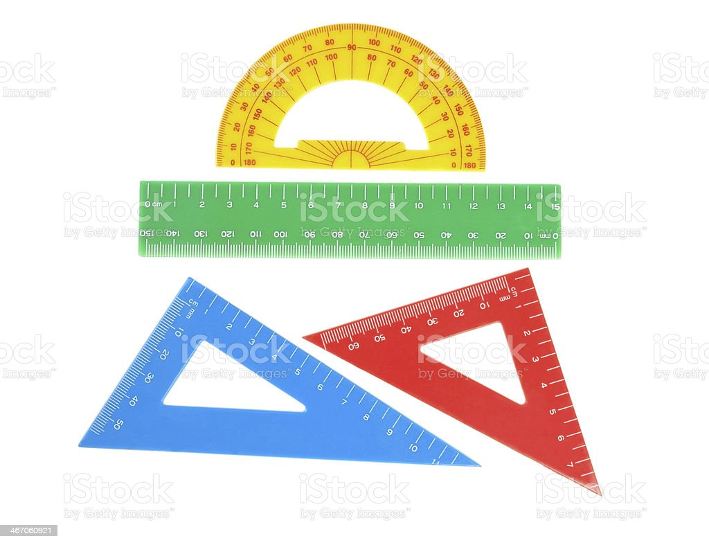 School tools triangle, ruler, protractor. Close-up. royalty-free stock photo