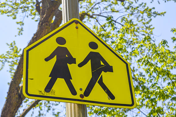 School warning sign School warning sign in Montreal downtown time zone stock pictures, royalty-free photos & images