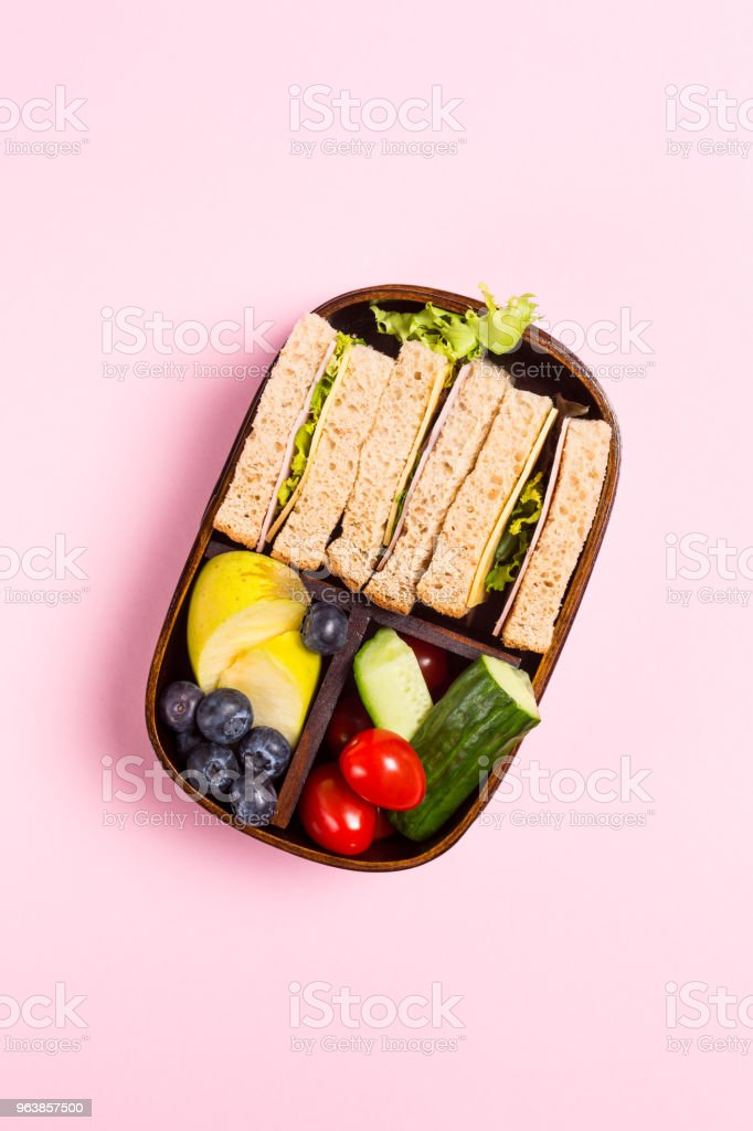School wooden lunch box with sandwiches - Royalty-free Above Stock Photo