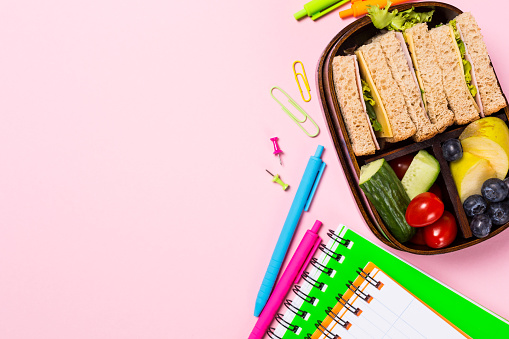 istock School wooden lunch box with sandwiches 978401602