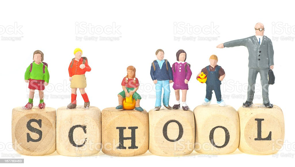 school word with pupils and teacher stock photo