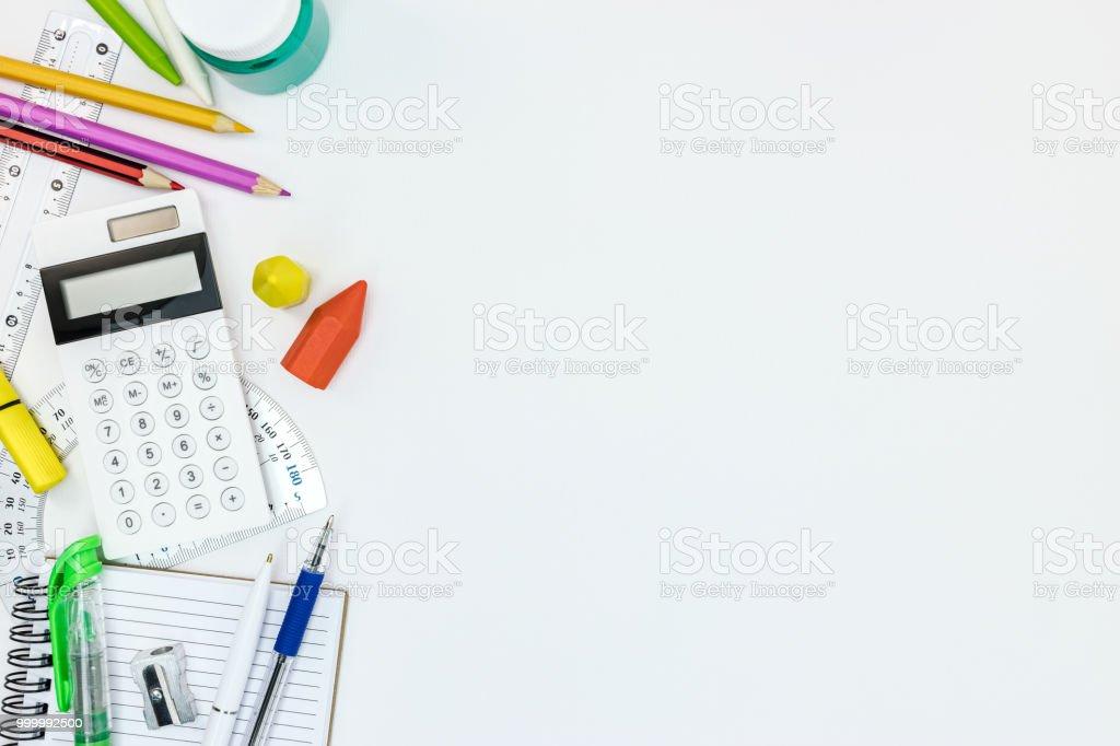 Schule Schreiben Und Malen Lieferungen Auf Weißen