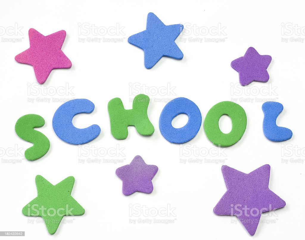 school written with stars stock photo