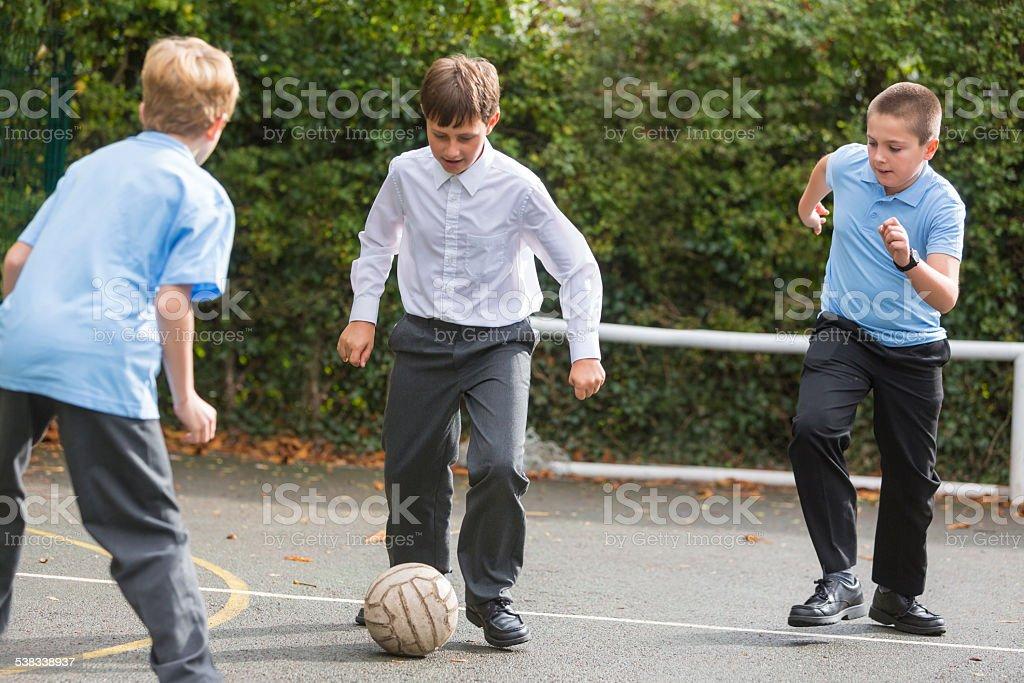 School Yard Soccer Competition stock photo