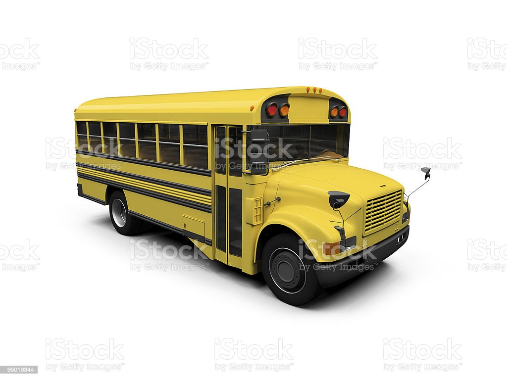 School yellow bus isolated view royalty-free stock photo