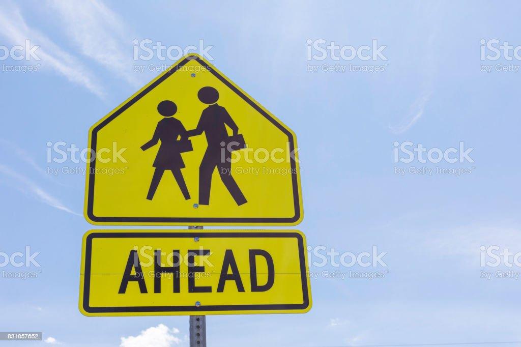 School Zone Ahead stock photo
