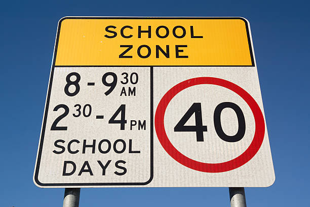 School Zone in Australia A school zone road sign in Sydney, Australia.  time zone stock pictures, royalty-free photos & images