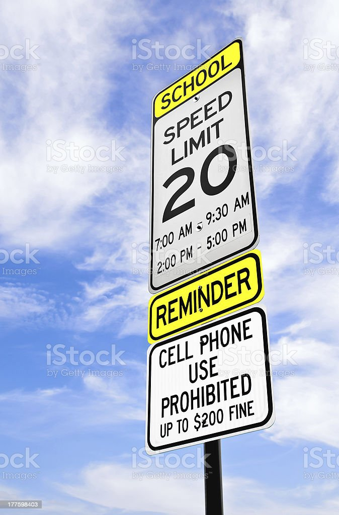 School zone reminder sign stock photo