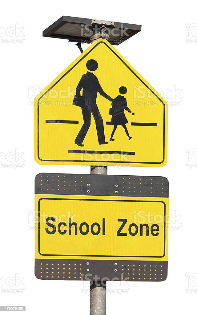 School zone sign isolated on white. stock photo