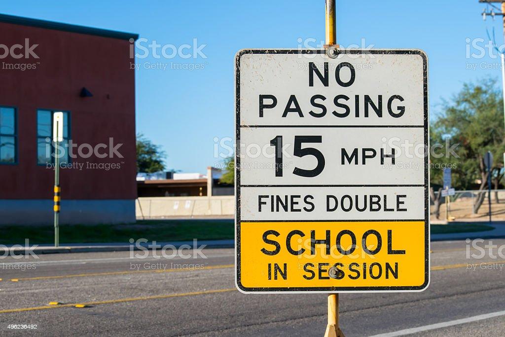 School Zone Sign stock photo