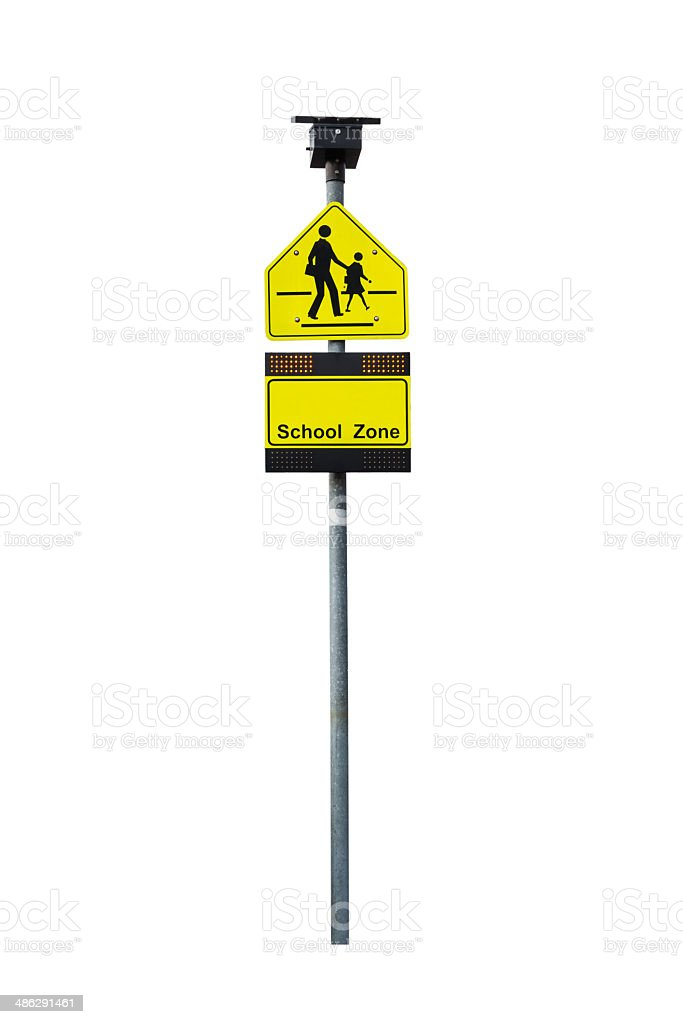 School zone warning sign and light stock photo