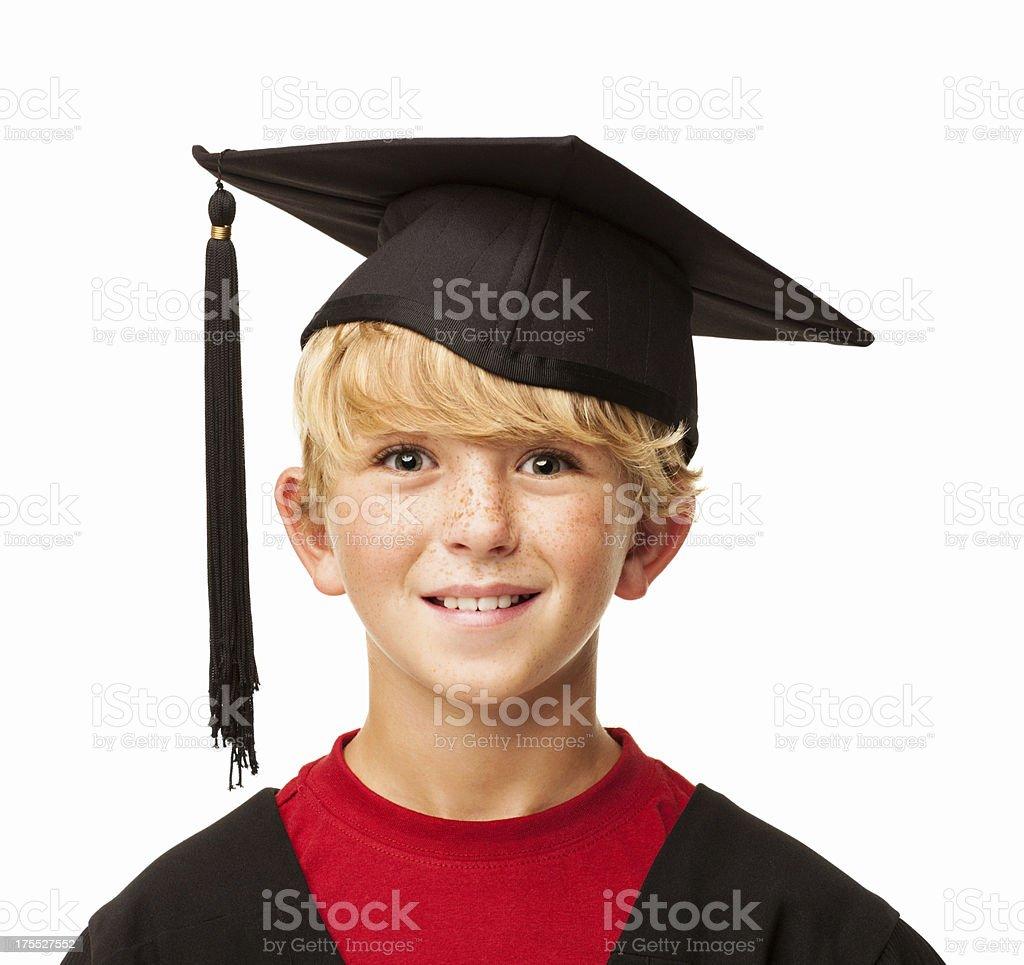 46fe411c8 Niño en edad escolar en una vestimenta de graduación aislado foto de stock  libre de derechos