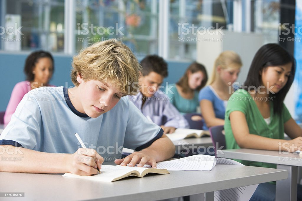 Schoolboy in high school class stock photo