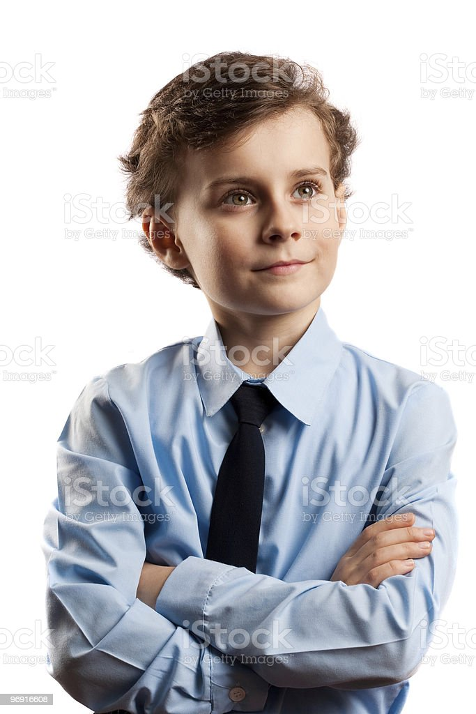 Schoolboy isolated on white royalty-free stock photo