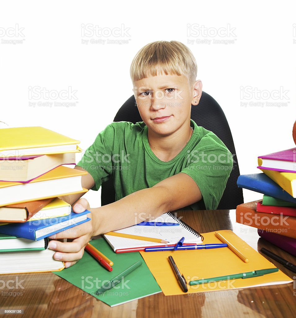 Schoolboy learning royalty-free stock photo