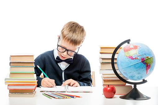 Schooljongen Potlood Maakt Notities In Een Notitieblok In De Buurt Van Een Stapel Boeken Stockfoto en meer beelden van Alleen kinderen
