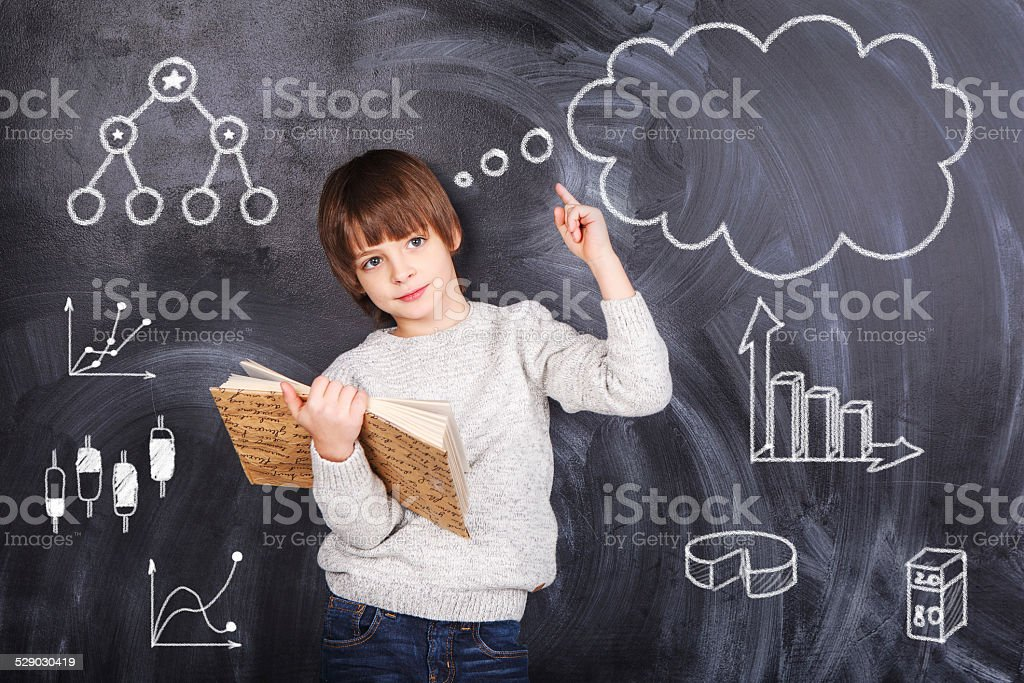 Schoolboy prepare their homework stock photo