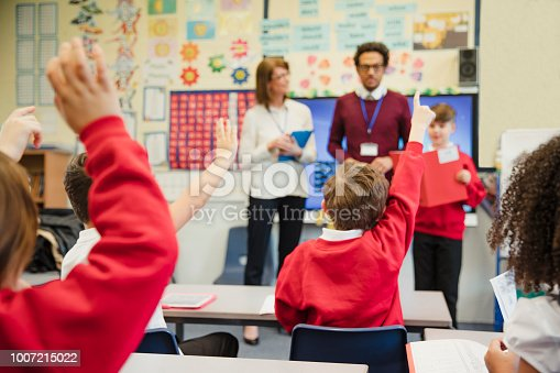istock Schoolboy Presenting to his Elementary Class 1007215022