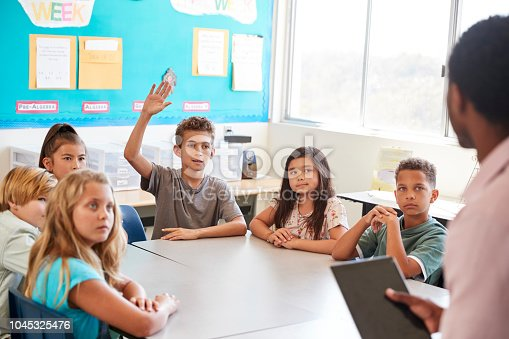 istock Schoolboy raising hand to answer in elementary school class 1045325476