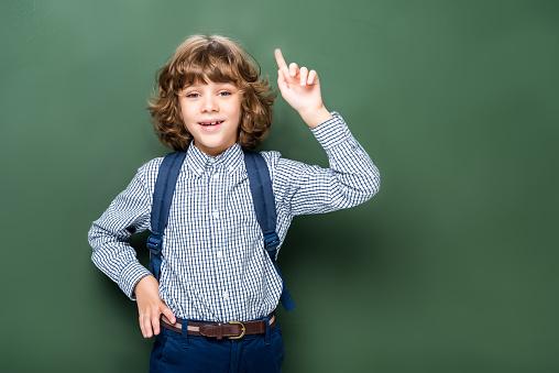 1016623732 istock photo schoolboy showing idea gesture near blackboard 1016623686