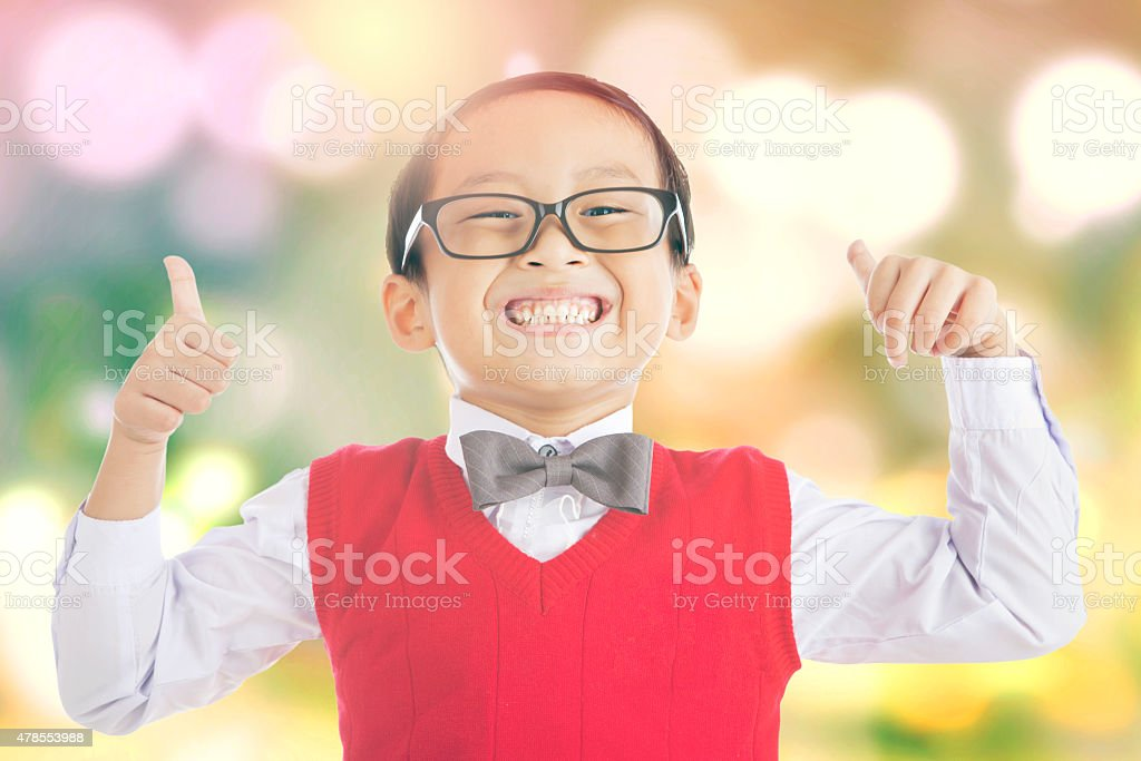 Schoolboy with bokeh background stock photo