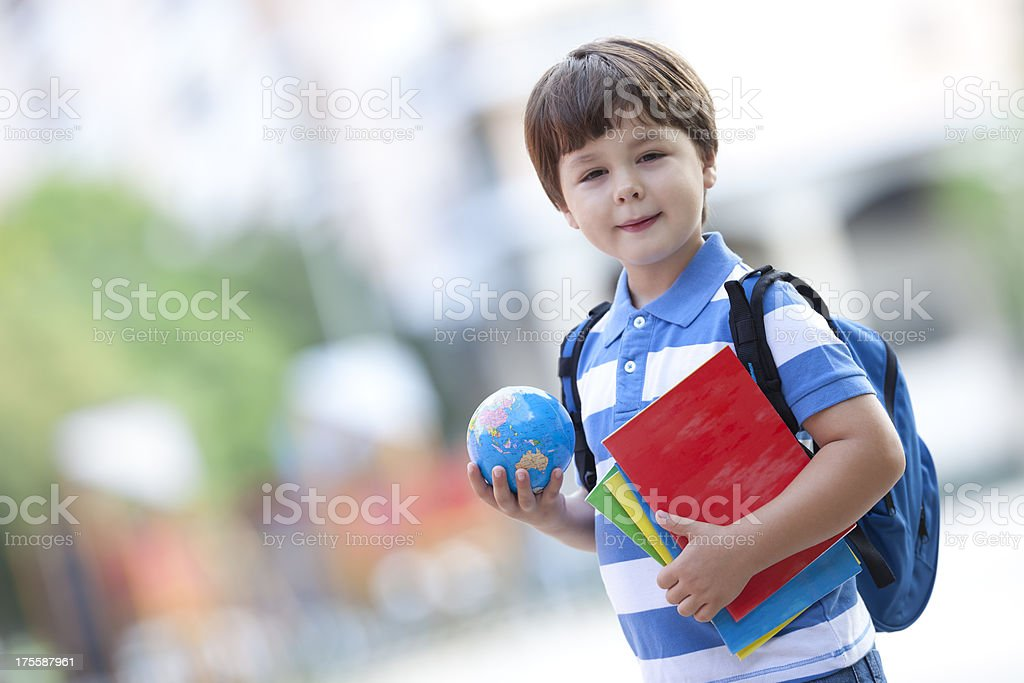schoolboy with exercise books royalty-free stock photo