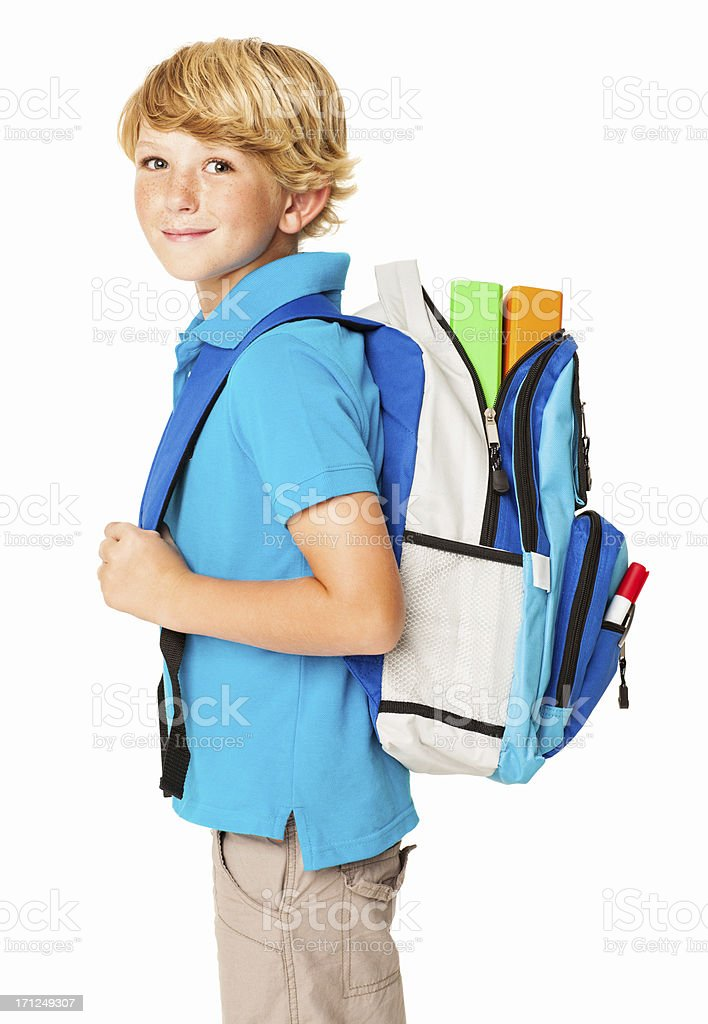 Schoolboy With His Bag - Isolated royalty-free stock photo