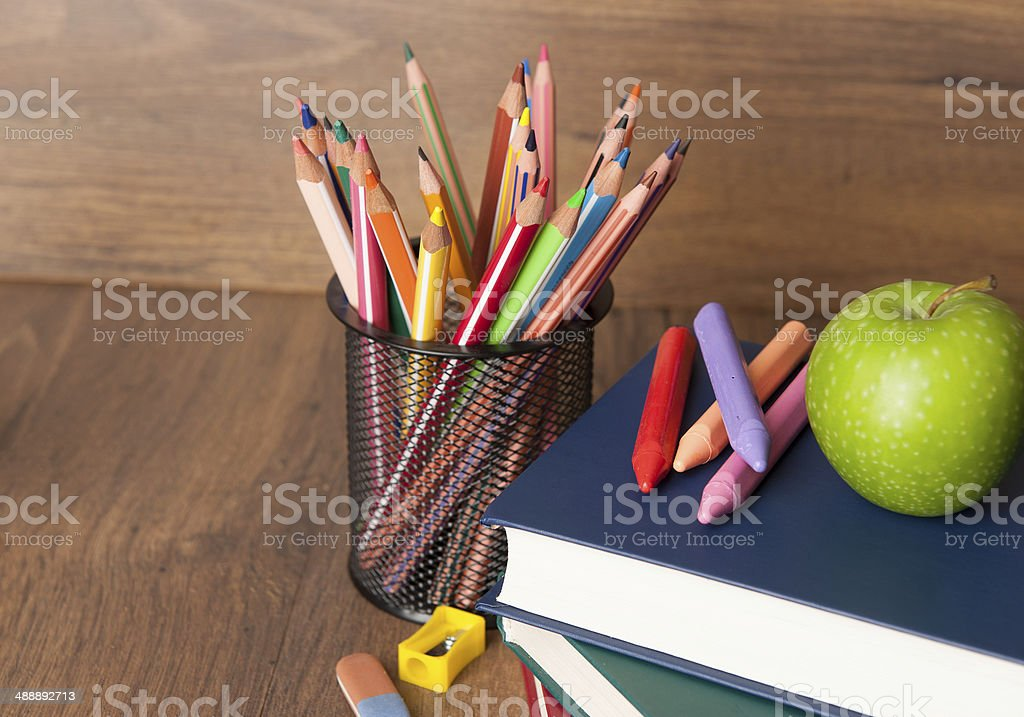 Schoolchild and student studies supplies. Back to school concept stock photo