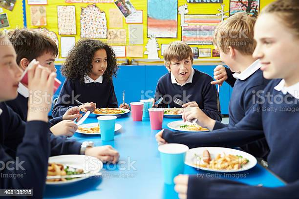 Schoolchildren sitting at table eating cooked lunch picture id468138225?b=1&k=6&m=468138225&s=612x612&h=n eu4jlgrmqe8rqpzym3odzvdmq7x532g9r8ekcd pc=