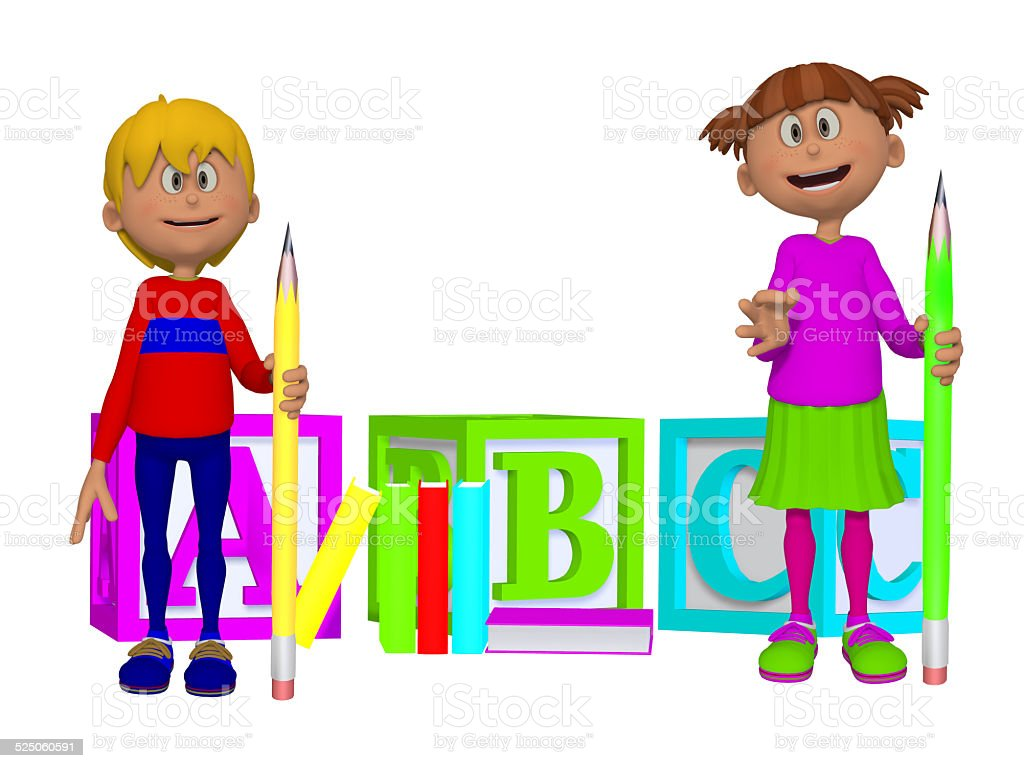 Schoolchildren with ABC blocks 3d stock photo
