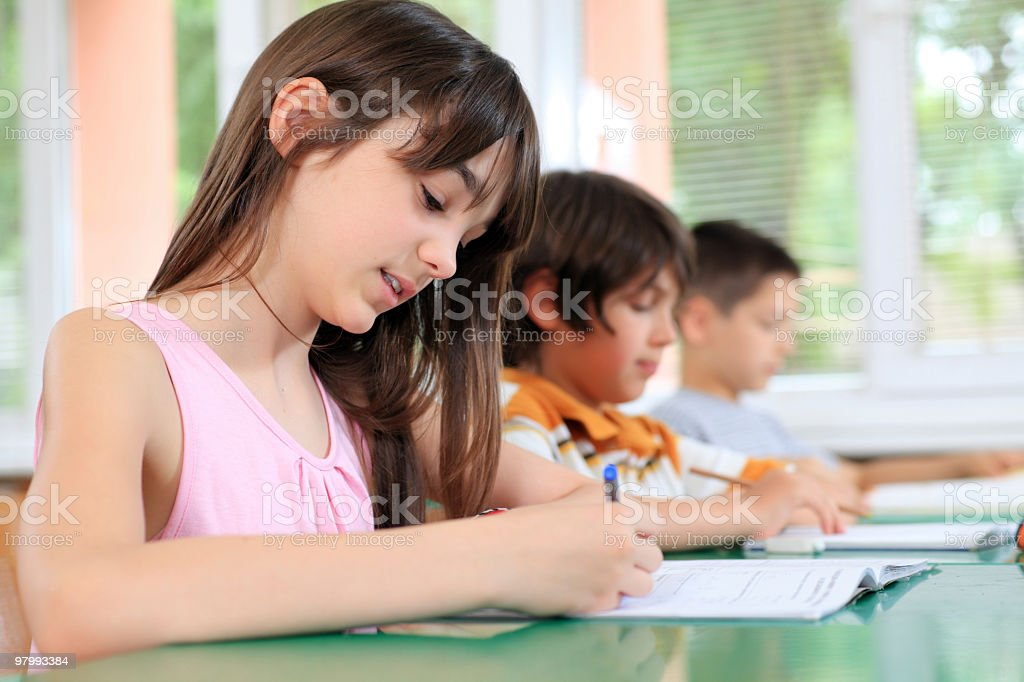 Schoolchildren writing in notebook on the lesson. royalty-free stock photo