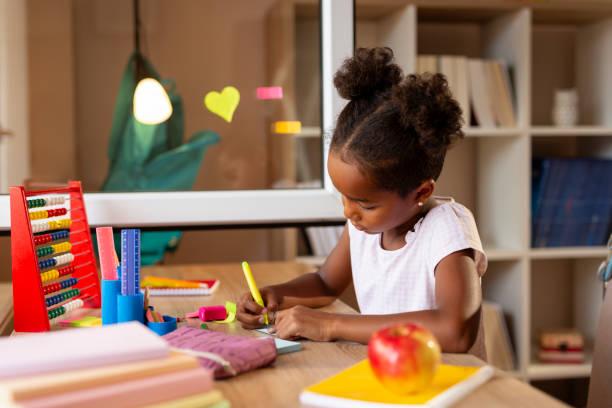 Schoolgirl doing homework stock photo