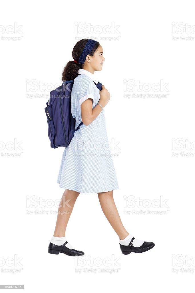 schoolgirl going to school royalty-free stock photo